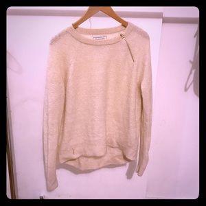 Abercrombie & Fitch cream metallic sweater